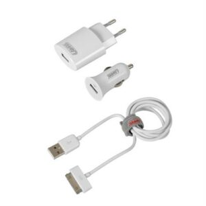 Καλώδιο Φορτισης / Συγχρονισμού USB για Apple 100cm 30pin με αντάπτορα USB αναπτήρα 12V/24V και αντάπτορα 220V