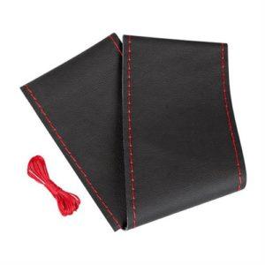 Κάλυμμα Τιμονιού Δερμάτινο Ραφτό PREMIUM (L) 37/39cm μαύρο/κοκκινο
